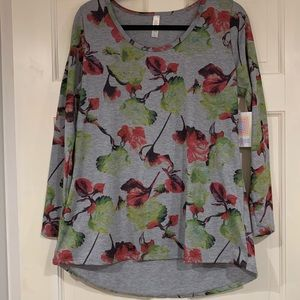LuLaRoe gray floral pattern Lynnae shirt L NWT